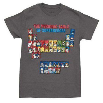 DC Comics Periodic Table of Superheroes Licensed Adult T-Shirt - Grey