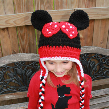 Minnie Mouse Hat, crochet animal hat, Newborn to adult