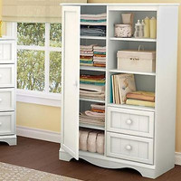 White Armoire Dresser Cabinet Chest Storage Baby Nursery Wood Organizer Shelf