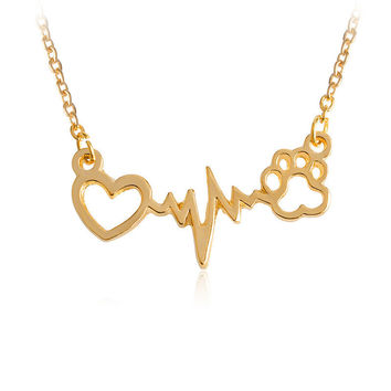 Shiny Gift Stylish Puppy Paw Heartbeat Cardiogram Graph Pendant Necklace [10893370703]