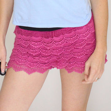 Hot Pink Lace Shorts