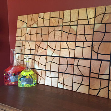 Wood Wall Art - Handcrafted from beautiful End Grain Wood Blocks. Very Unique & Very 3 Dimensional wooden wall art - 3D rustic modern art.