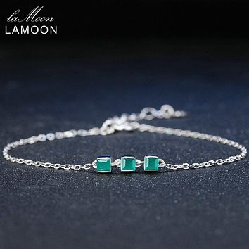 Lamoon 2mm 100% Natural Square Green Chalcedony 925 Sterling Silver Bracelet Chain Charm Jewelry S925 LMHI017