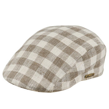 Pure linen chequered summer flat cap