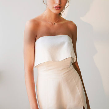 Dolce Vita Strapless Notch Linen Romper | Urban Outfitters
