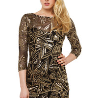 Geo Sequin Midi Dress - Black/Gold