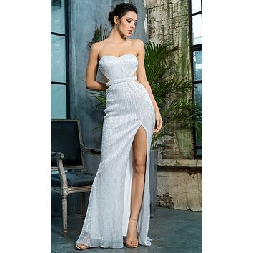 Lose Control Silver Sequin Strapless Sweetheart Neck Cut Out Sides Backless High Slit Maxi Dress