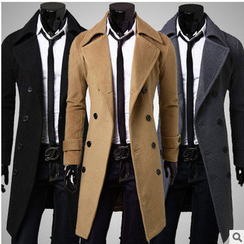 Men Thicken Double Breasted England Style Jacket [6528872003]