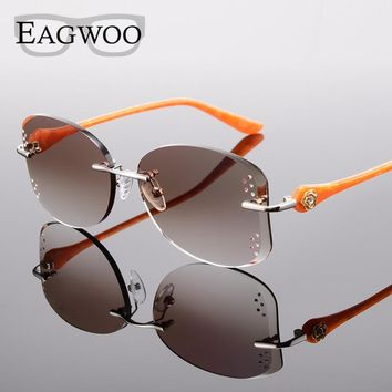 Alloy Eyeglasses Women Rimless Prescription Reading Myopia Sunglasses Glasses with Color Tinted lenses 528031