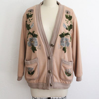 Vintage 60s Women's Tan Oversized Cardigan Sweater with Floral Embroidery