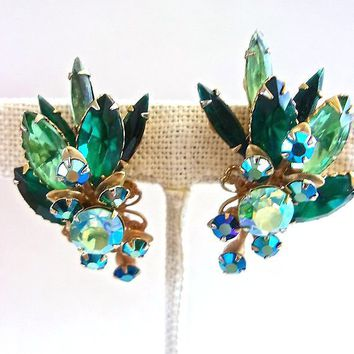 BEAU JEWELS Rhinestone Earrings Green Navette, Aurora Borealis Clip-On Cluster Vintage