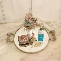 Vintage mirror Roses rhinestones tray altered Shabby chic mirror tray French ornated vanity tray