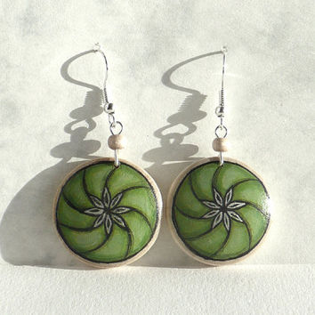 Chic Green Earrings, Green Art Design Earring, Sterling Silver Earring Wood Earring, Hand Painted Earrings, Wooden Drop Earring by Artdora
