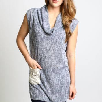 Sleeveless Cowled Neck Knit