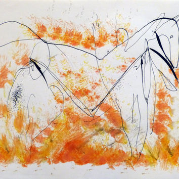 Orange Horse in the Field original artwork painting drawing PARIS new wall art abstract equestrian Home Decor collectable for animal lover