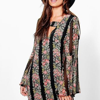 Theresa Floral Bell Sleeve Dress