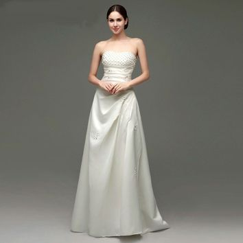 Off the Shoulder Sequins Beading Pearls Wedding Dresses Lace-up Back  Floor Length Wedding Gown
