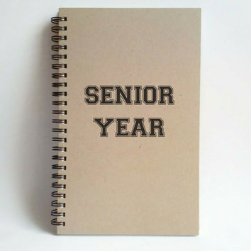Senior Year, 5x8 writing journal, custom spiral notebook, personalized brown kraft memory book, small sketchbook, college, high school