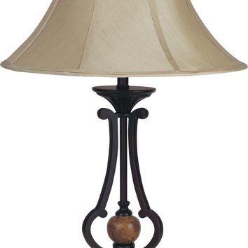 Old Style 29-Inch Table Lamp With Aesthetic Metal Base  - Brown