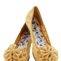 ModCloth Charming Melody Flat in Honey