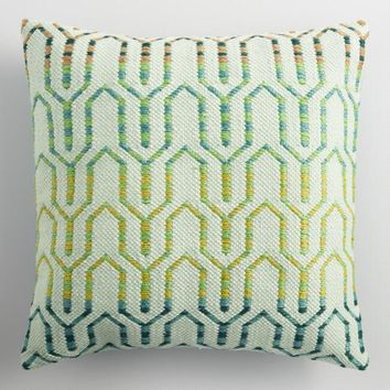 Cool Geometric Embroidered Indoor Outdoor Throw Pillow