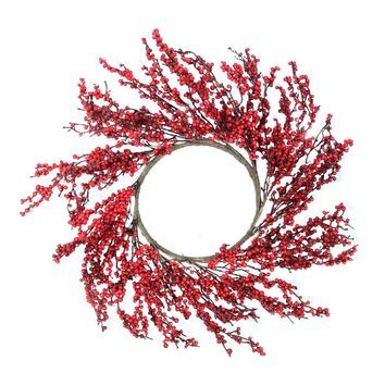 "28"" Festive Red Berries Artificial Christmas Wreath - Unlit"