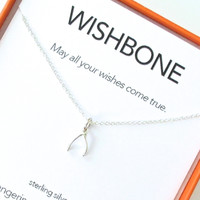 Wishbone Charm Necklace Set