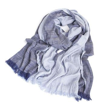Fall Fashion Brand Winter Cotton Long Denim Blue Warm Cashmere Scarves Bufanda Escocesa Plaid Woven Wrinkled Cotton Scarf Men