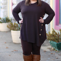Twirl Brown Sweater Button Tunic {Curvy}