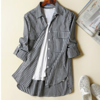 Black White Plaid Roll-Up Sleeve Button Collar Shirt
