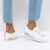 Ted Baker Kelleip Leather Floral Placement Trainer at asos.com