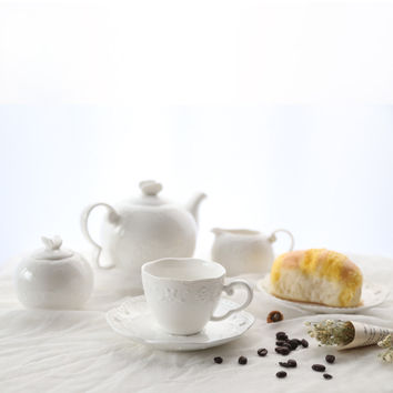 Fashion ceramic cutout series coffee cup with saucer set