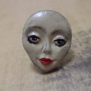 OOAK Hand Painted Creepy Doll Face Adjustable Ring
