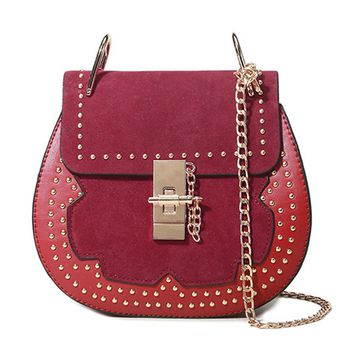 Streetstyle  Casual Patchwork Rivets Chain Round Crossbody Bag