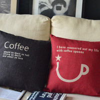 Coffee Cup Print Decorative Pillow [124] : Cozyhere