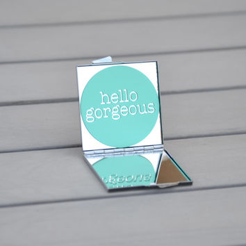Hello gorgeous | Bridesmaid gift, bridal party gift, party favor, birthday gift, unique gift idea, customizable gift, inspirational quote