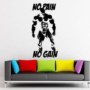 Wall Decal Sticker Sport No Pain No Gain Bodybuilding Bodybuilder Unique Gift (z3206)