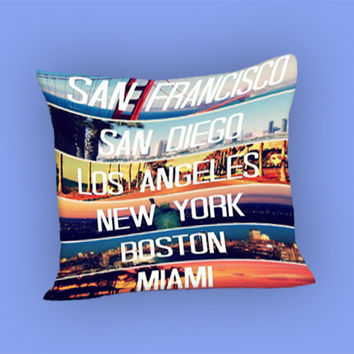 Cities La Miami Boston Ny Sd Sf Retro for Pillow Case, Pillow Cover, Custom Pillow Case **