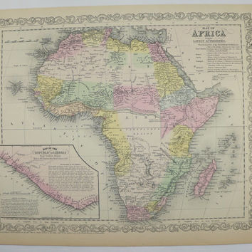 Original Old Africa Map 1858 Mitchell Map, Unique Birthday Gift African Decor Wall Map, Vintage Art Map, Travel Map Safari Art, History Gift