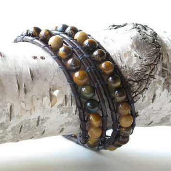 Wrapped leather bracelet - tiger eye & jasper beads