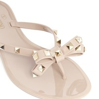 Studded bow flat jelly sandals