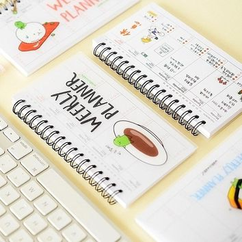 4 pcs/Lot Sushi weekly planner Mini coil notebook diary Agenda for week plan schedule Stationery office School supplies F501