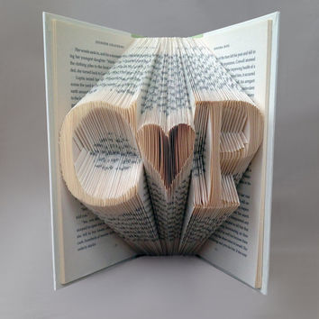 Personalized Initials Folded Book Art - Book Sculpture - Anniversary Gift - Wedding Gift - Unique Gift - Gift for Book Lovers - Husband Wife