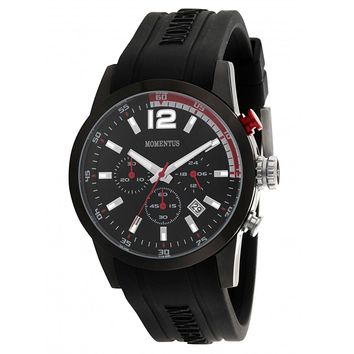 Momentus FS312E-04RB Men's Functional Sport Black Dial Chrono Black Rubber Strap Watch
