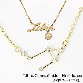 Libra Constellation Zodiac Necklace (09/24-10/23) - As seen in Real Simple