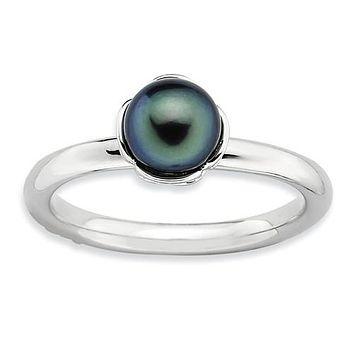 925 Sterling Silver Black Freshwater Pearl Ring