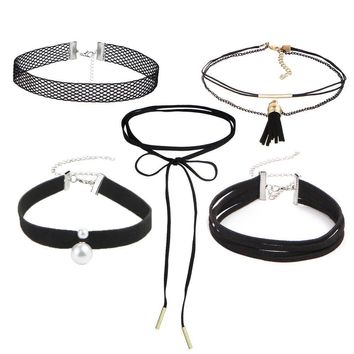 5Pcs/Set Bohemian Simulated Pearl Pendant Choker Necklace Lace Velvet Leather Multilayer Collar Necklace Jewelry Free Shipping