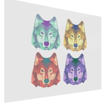 Geometric Wolf Head Pop Art Gloss Poster Print Landscape - Choose Size by TooLoud