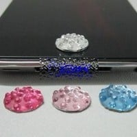 1 piece PINK Rhinestone iPhone Home Button Sticker in clear plastic bag