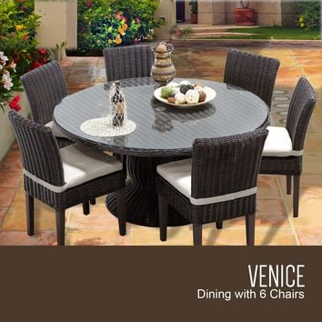 Venice 60 Inch Outdoor Patio Dining Table with 6 Armless Chairs